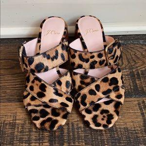 J. Crew Penny Mid Heel Slide Sandals L0301